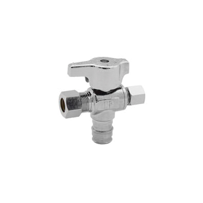LEGEND T-597NL Quarter Turn Dual Outlet Supply Stop Valve, 1/2 x 3/8 x 1/4 in, F1960 PEX x Compression x Compression