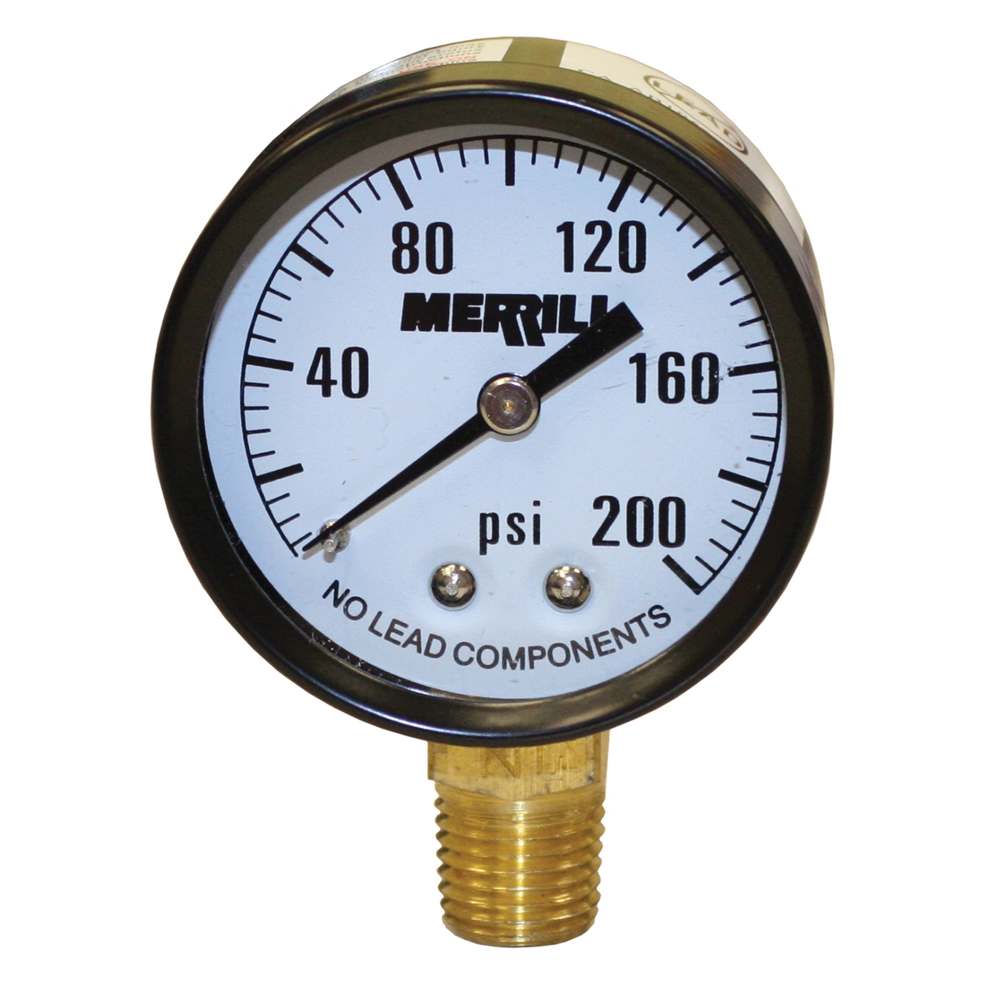 Merrill PGNL200 Pressure Gauge, 2 in Dial, 0 to 200 psi, 1/4 in MNPT Lower Mount, /-3-2-3% Accuracy, Liquid Filled: No