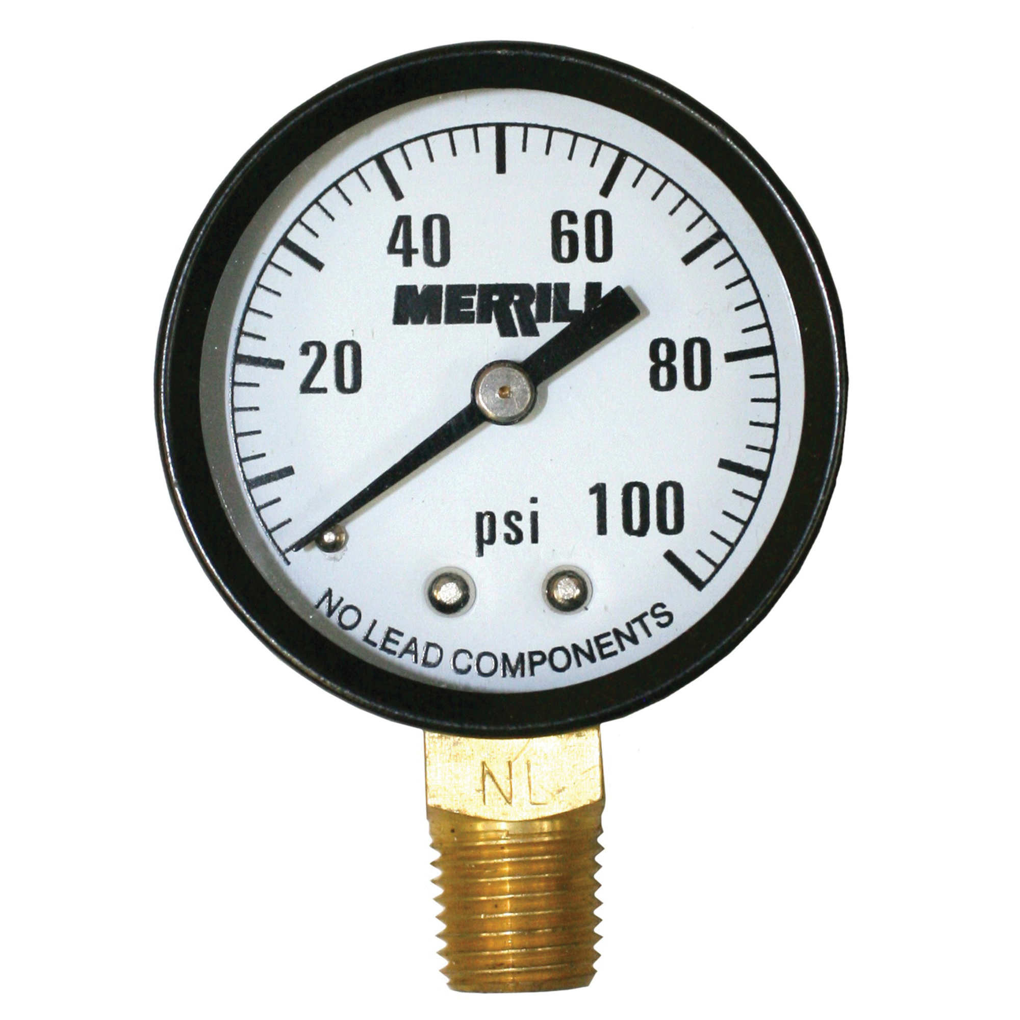 Merrill PGNL100 Pressure Gauge, 2 in Dial, 0 to 100 psi, 1/4 in MNPT Lower Mount, /-3-2-3% Accuracy, Liquid Filled: No