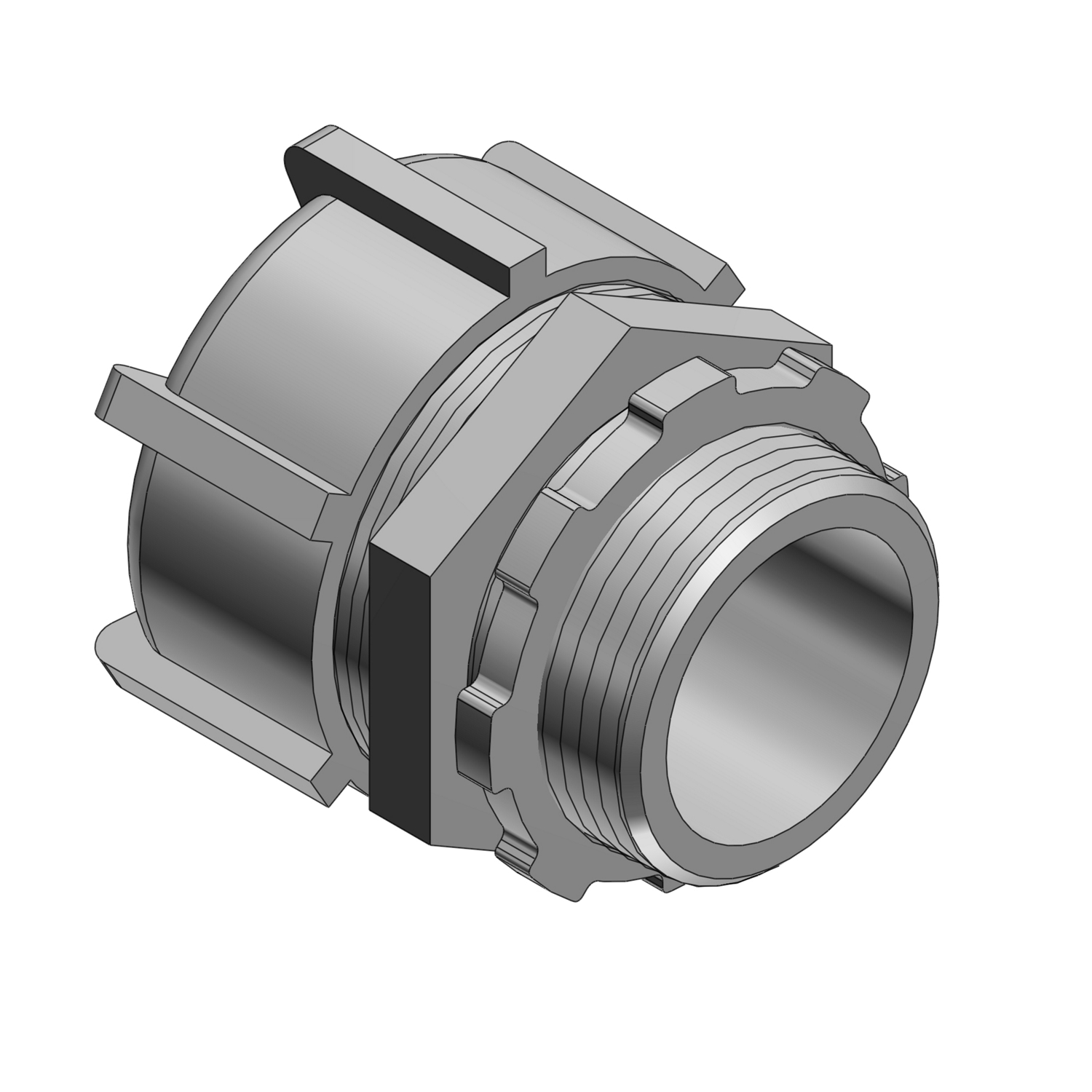 T&B Industrial Fitting 52 Series Flexible Liquidtight Conduit Connector, 3 in Trade, 90 deg, Malleable Iron