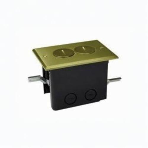 Allied Moulded FB-2 Duplex Floor Box Assembly With Brass Duplex Device Cover, Polycarbonate, 24.5 cu-in, 1 Gang