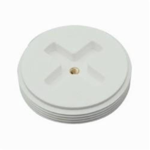 Tomahawk 878 Slotted Countersunk Cleanout Flush Plug With Insert, Polypropylene, White, Domestic
