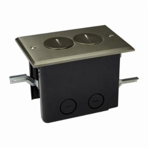 Allied Moulded FB-2N Duplex Floor Box With Device Cover, Polycarbonate, 24.5 cu-in, 1 Gangs, 2 Outlets, 4 Knockouts