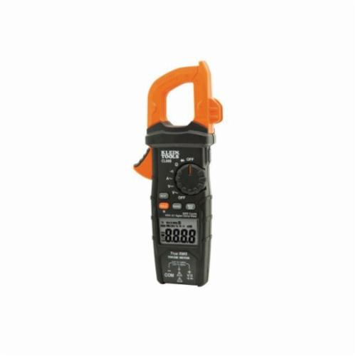 Klein CL600 AC Digital Auto-Ranging Clamp Meter, 600 A at 1000 VAC/VDC, 60 mOhm, 1-3/8 in Jaw, LCD Display