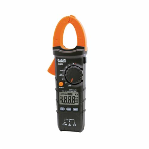 Klein CL210 Clamp Meter, 400 A at 600 VAC/VDC, 20 mOhm, 45/400 Hz, 1-1/8 in Jaw, LCD Display