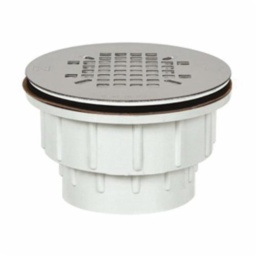Tomahawk 825 Receptor-Base Style Shower Module Drain With Snap-In Strainer, 2 in, Hub x Spigot, PVC Drain