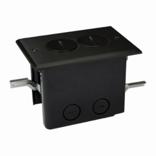 Allied Moulded FB-2DB Duplex Floor Box With Device Cover, Polycarbonate, 24.5 cu-in, 1 Gangs, 2 Outlets, 2 Knockouts