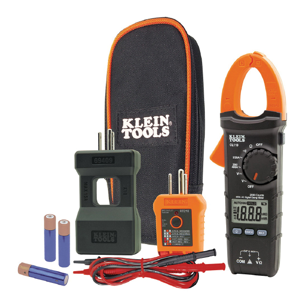 Klein CL110KIT Digital Clamp Meters, 400 A at 600 VAC/VDC, 20 MOhm, LCD Display