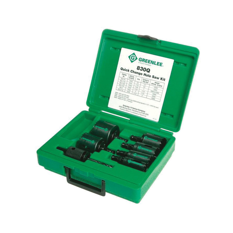 Greenlee 830Q Quick Change Hole Saw Set, 10 Pieces, 7/8, 1-1/8, 1 3/8, 1 3/4, 2, 2-1/2 in, 22 mm Hole Dia
