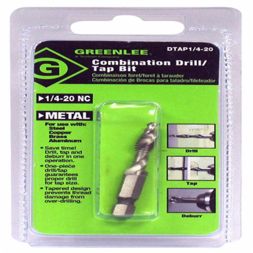 Greenlee Quick Change Standard Length Combination Tap and Drill, Imperial, 3/16 in Drill, 1/4-20 NC, 2-1/4 in OAL