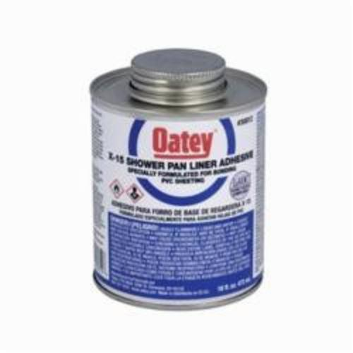 Oatey X-15 30812 PVC Bonding Adhesive, 16 oz Can, Liquid, Clear, 0.9 Specific Gravity