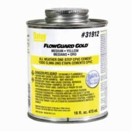 Oatey FlowGuard Gold 31912 1-Step All Weather CPVC Cement, 16 oz Container, Translucent Liquid, Yellow
