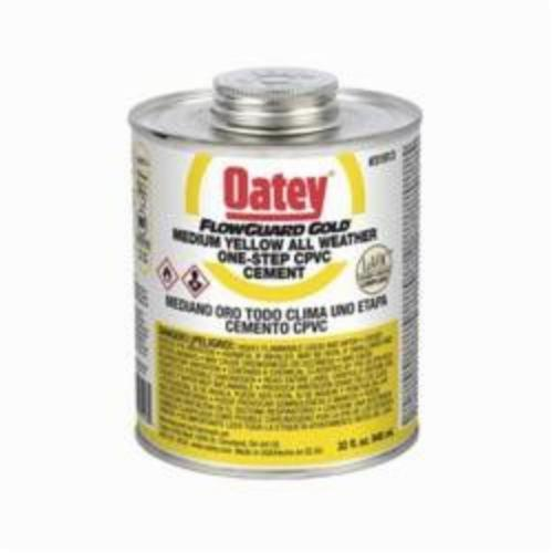 Oatey FlowGuard Gold 31913 1-Step All Weather CPVC Cement, 32 oz Container, Translucent Liquid, Yellow