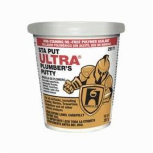 Hercules Sta Put Ultra 25171 Professional Plumber's Putty, Bucket 14 oz Container, Solid, Off-White