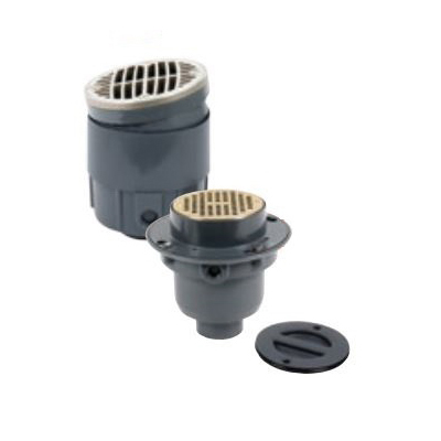 Oatey True Ser TP414N Flanged Floor Drain, 4 in, Solvent Weld x Hub Connection, PVC Drain