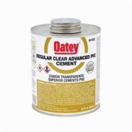 Oatey 31928 Regular Advanced PVC Cement, 32 oz, Translucent Liquid, Clear, 0.9 Specific Gravity