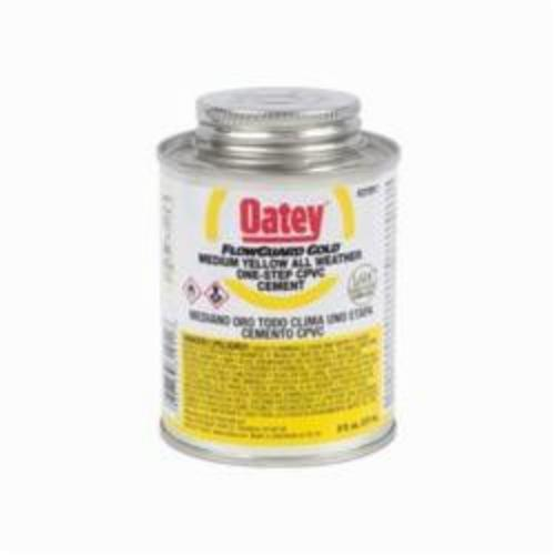 Oatey FlowGuard Gold 31911 1-Step All Weather CPVC Cement, Can, 8 oz Container, Translucent Liquid, Yellow