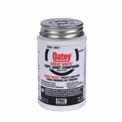 Oatey Great White 31230 Pipe Joint Compound With PTFE, Can 4 fl-oz Container, Liquid Paste, White