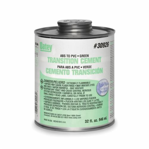 Oatey 30926 Low VOC ABS to PVC Solvent Transition Cement, 32 oz, Can, Translucent Liquid, Green, 0.92 Specific Gravity