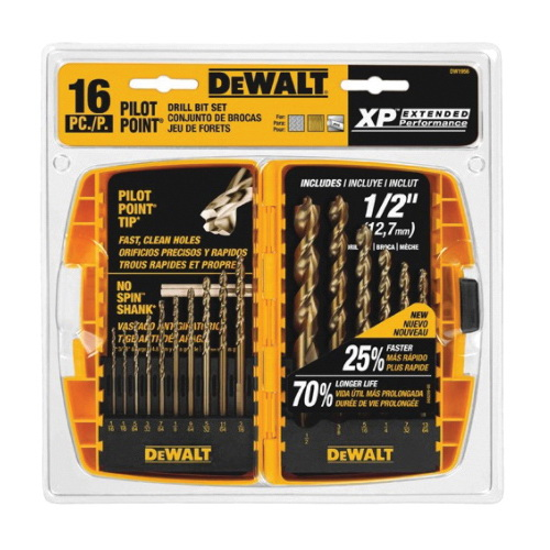 DeWALT Guaranteed Tough Pilot Point DW1956 Drill Bit Set, 16 Pieces, 135 deg Point Angle, Round Shank, Gold Ferrous