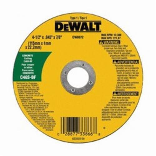DeWALT High Performance DW8072 Type 1 Cut-Off Wheel, 4-1/2 in Dia x 0.045 in THK, C60T Grit, Silicon Carbide Abrasive