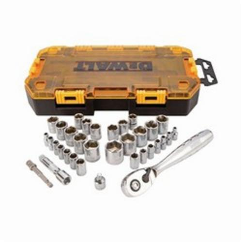 DeWALT DWMT73804 Socket Set, Imperial/Metric, 6 Point, 1/4 in, 3/8 in Drive, 34 Pieces