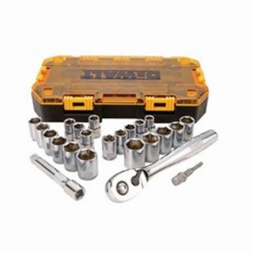 DeWALT DWMT73813 Combination Socket Set, Imperial/Metric, 6 Point, 1/2 in Drive, 23 Pieces