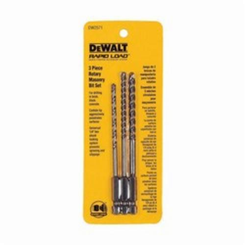 DeWALT DW2571 Rotary Masonry Drill Set, 3 Pieces, 1/4 in Drill, Straight Shank, Standard Point, Carbide Tip, Bright
