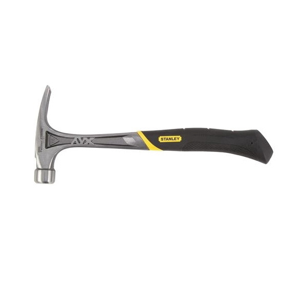 Stanley FATMAX Xtreme Anti-Vibe 51-167 Rip Claw Framing Hammer, 18 in OAL, Checkered Face, 22 oz Steel Head, Rip