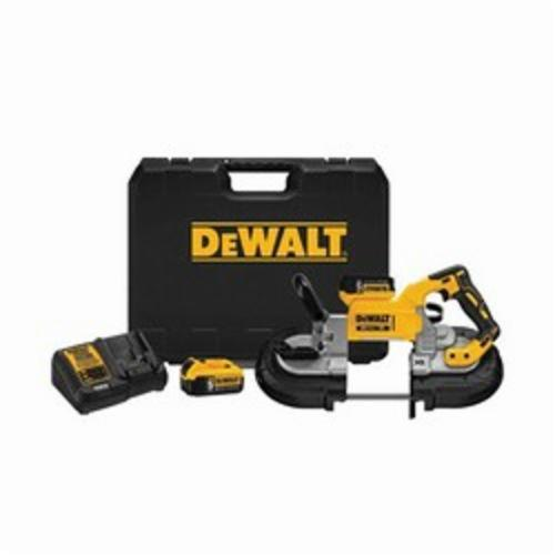 DeWALT 20V MAX* XR Brushless Deep Cut Portable Cordless Band Saw Kit, 5 x 4-3/4 in Cutting, 44-7/8 in L Blade, 20 VDC