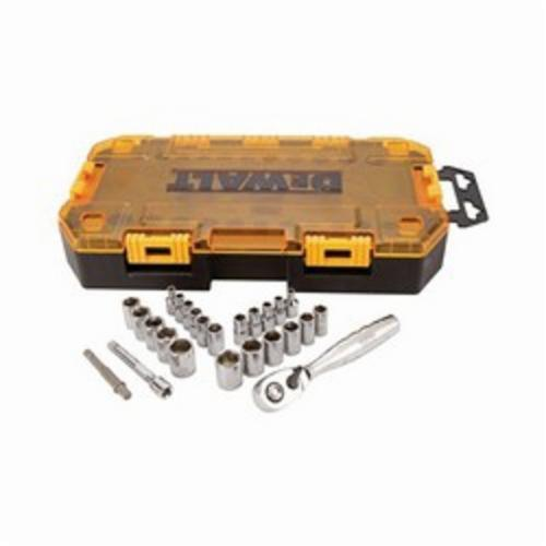 DeWALT DWMT73805 Socket Set, Imperial/Metric, 6 Point, 1/4 in Drive, 25 Pieces