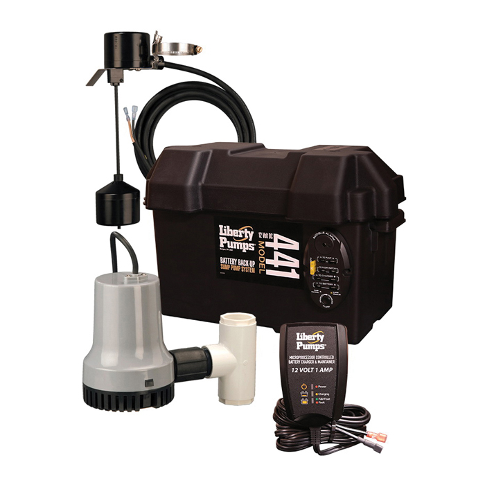 Liberty Pumps 441 Battery Back-Up Emergency Sump Pump, 30 gpm, Thermoplastic