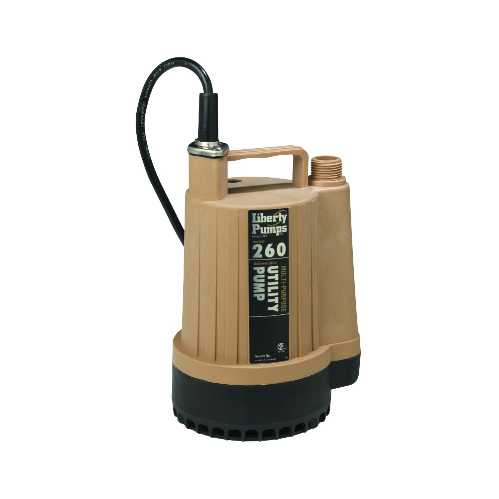 Liberty Pumps 260 Submersible Utility Pump, 17 gpm, 3/4 in NPT Outlet, 1/6 hp, Thermoplastic