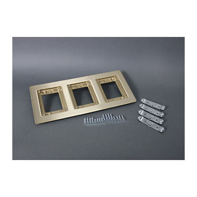 Wiremold OmniBox Combination Carpet and Tile Flange, 13-5/16 in L x 6-1/16 in W, 3 Gangs, Brass