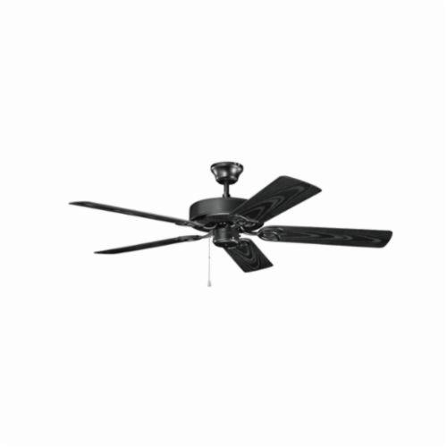 Kichler 401SBK Traditional Ceiling Fan, 52 in Sweep Blade, 11 deg Blade Pitch, ABS Blade, Cold Rolled Steel Housing, 4687 cfm