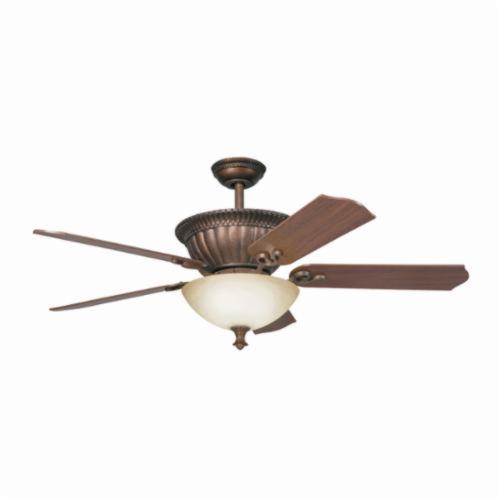 Kichler 300012TZG Traditional Ceiling Fan, 52 in Sweep Blade, 14 deg Blade Pitch, Wood Blade, Steel Housing, 4895 cfm