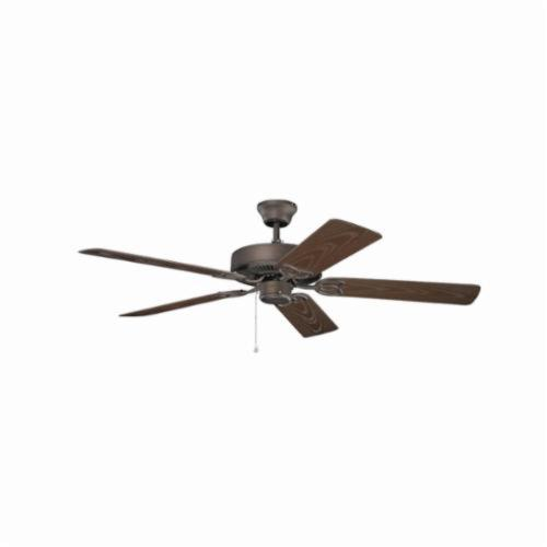 Kichler 401SNB Traditional Ceiling Fan, 52 in Sweep Blade, 11 deg Blade Pitch, ABS Blade, Cold Rolled Steel Housing, 4687 cfm