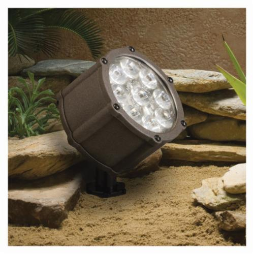 Kichler 15753AZT Landscape Accent Light, (9) LED Lamp, 9 W Fixture, 12 VAC, Textured Architectural Bronze Housing