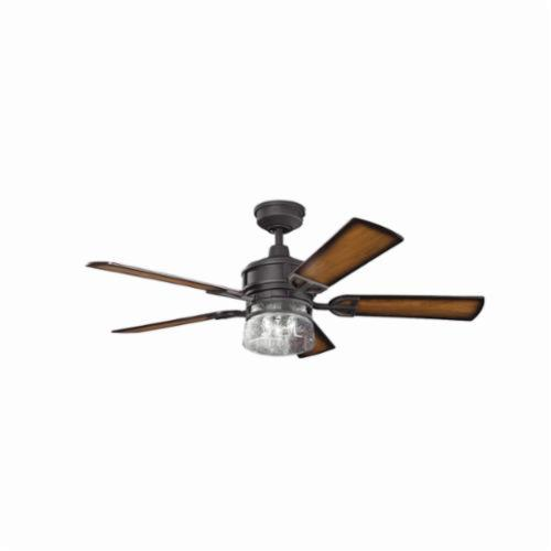 Kichler 300120DBK Transitional Ceiling Fan, 52 in Sweep Blade, 13 deg Blade Pitch, Wood Veneer Blade, Cold Rolled Steel Housing, 5296 cfm