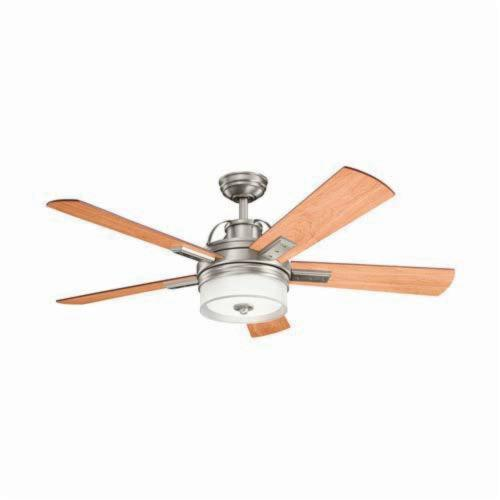 Kichler 300181AP Traditional Ceiling Fan, 52 in Sweep Blade, 14 deg Blade Pitch, Plywood Blade, Steel Housing, 5891 cfm