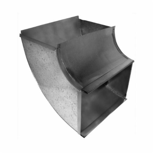 Southwark 16S2410 Shortway Vertical Elbow, 24 x 10 in, Square/Throat, 90 deg, Hot Dipped Galvanized, Steel, Domestic