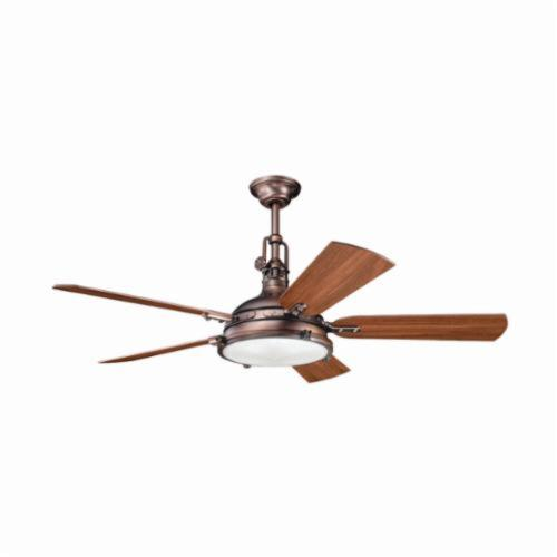 Kichler 300018OBB Traditional Ceiling Fan, 56 in Sweep Blade, 14 deg Blade Pitch, Plywood Blade, Steel Housing, 5515 cfm