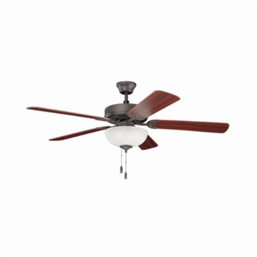 Kichler 403SNB Traditional Ceiling Fan, 52 in Sweep Blade, 12 deg Blade Pitch, Wood Blade, Cold Rolled Steel Housing, 4331 cfm