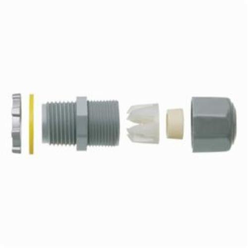 Arlington LPCG507 Low Profile Straight Strain Relief Cord Connector With Grip, 1/2 in Trade, Nylon