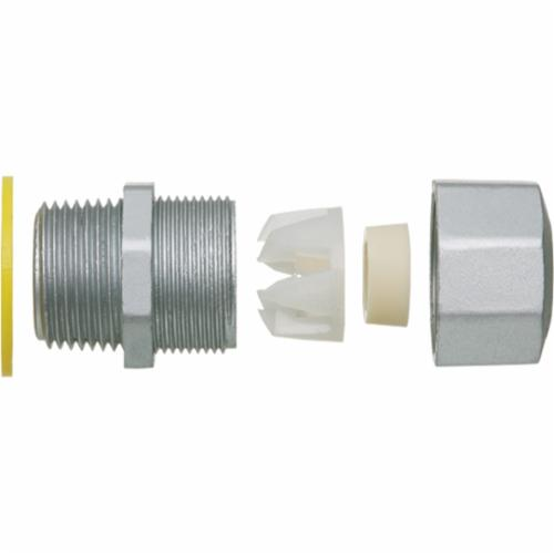 Arlington LPCG507Z Low Profile Straight Strain Relief Cord Connector With Grip, 1/2 in Trade, Zinc