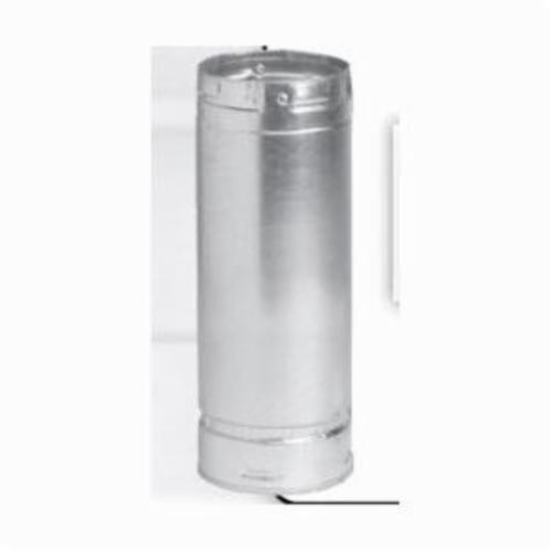 METAL-FAB 3M12 Type B Double Wall Round Gas Vent Pipe, 3 in Dia x 12 in L x 1/4 in THK, Aluminum