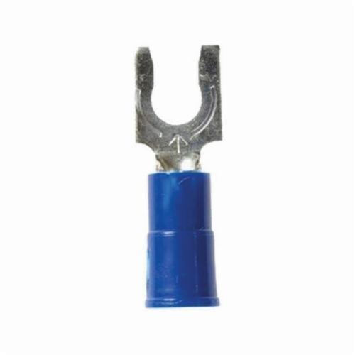 Highland 051128-60017 Locking Fork Terminal, 16 to 14 AWG Conductor, 0.88 in L, Butted Barrel, Copper, Blue Barrel