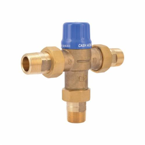 Cash Acme 24511 HG110-D Thermostatic Mixing Valve, 1 to 20 gpm, 230 psi, 3/4 in MNPT Inlet x 3/4 in MNPT Outlet