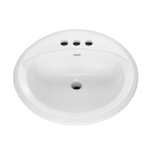 American Standard 0491.019.020 Rondalyn Self-Rimming Bathroom Sink With Front Overflow, Round, 4 in Faucet Hole Spacing, 19-1/8 in W x 7-3/8 in H