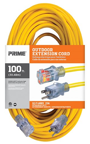100 ft Outdoor Extension Cord, 15A 125V 1875W, 12/3 SJTW-A